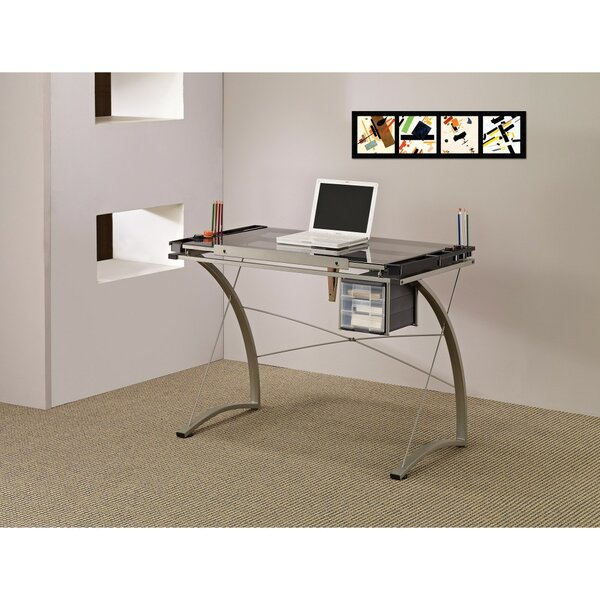 Bratches Sophisticated Metal Drafting Desk with Tempered Glass Top by Ebern Designs