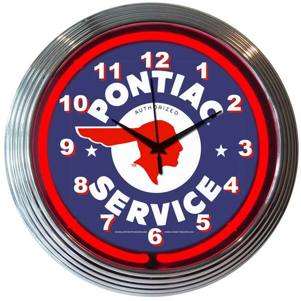 Cars and Motorcycles 15 Pontiac Service Wall Clock by Neonetics