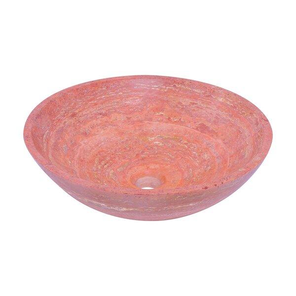 Travertine Stone Circular Vessel Bathroom Sink by Novatto