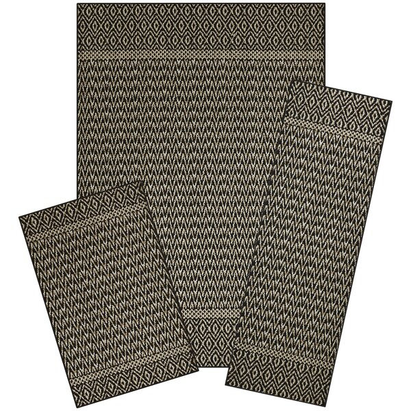 Pine 3 Piece Black/Sand Area Rug Set by Bungalow Rose