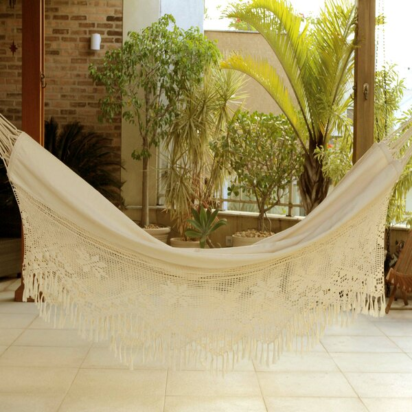 Artisan Crafted Single Person Indoor and Outdoor Hand Woven with Crochet Fridge Brazilian Cotton Tree Hammock by Novica