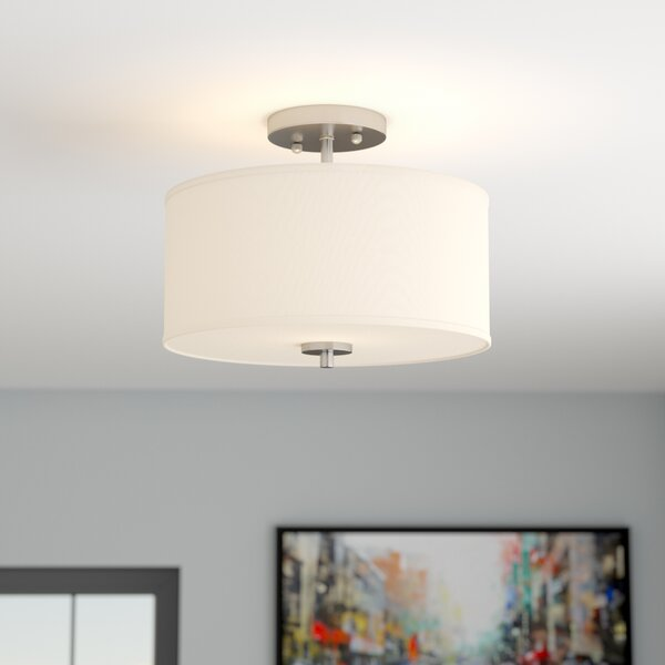 Salmons 2-Light Semi Flush Mount by Wrought Studio