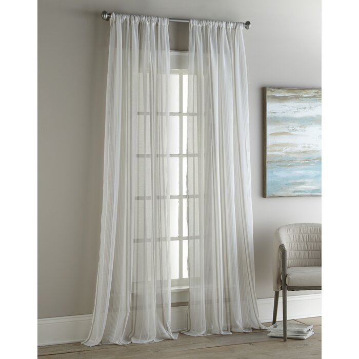 Vertical Striped Sheer Curtain Panels