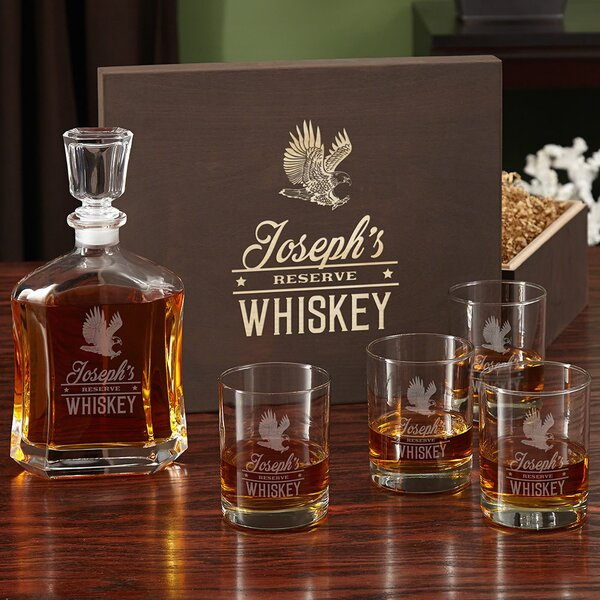 Rushmore Engraved Liquor 5 Piece Beverage Serving Set by Home Wet Bar