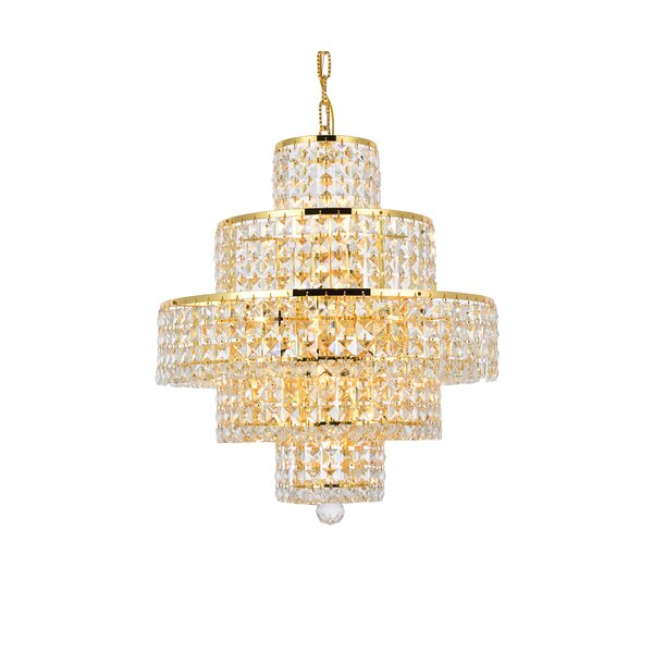 Bratton 13 - Light Unique / Statement Tiered Chandelier With Crystal Accents By Rosdorf Park