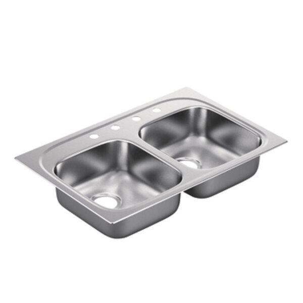 2200 Series 33 L x 22 W Double Bowl Drop in Kitchen Sink