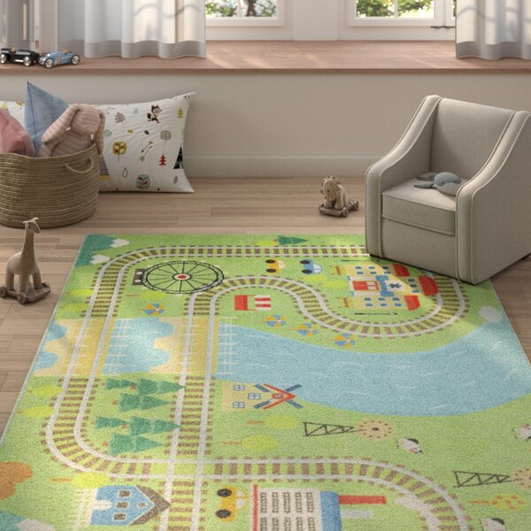 Engler Train Track Green/Blue Area Rug by Zoomie Kids