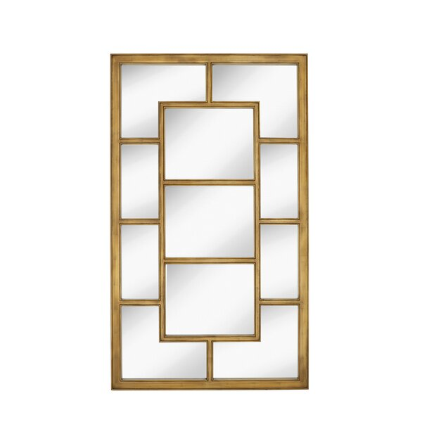 Large Rectangular Paneled Mirror with Antique Gold Leaf Frame by Majestic Mirror