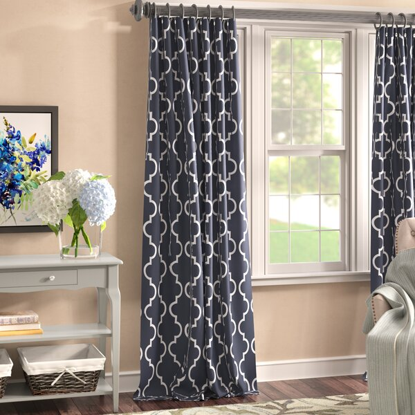 Grouse Geometric Blackout Thermal Rod Pocket  Single Curtain Panel by Three Posts