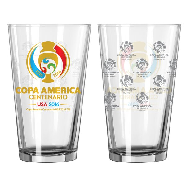 Copa America Sublimated 6 Oz. Glass Pint Glasses (Set of 2) by Boelter Brands