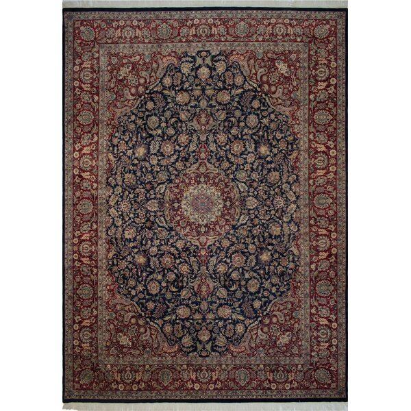 Canning Persian Hand-Knotted Wool Red/Navy Area Rug by Fleur De Lis Living