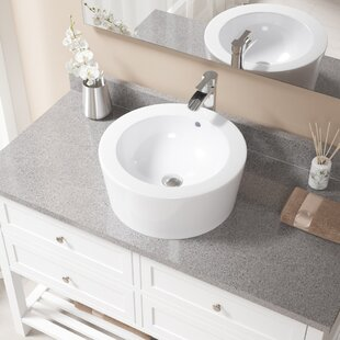 Big Save Vitreous China Circular Vessel Bathroom Sink with Faucet and Overflow By MR Direct