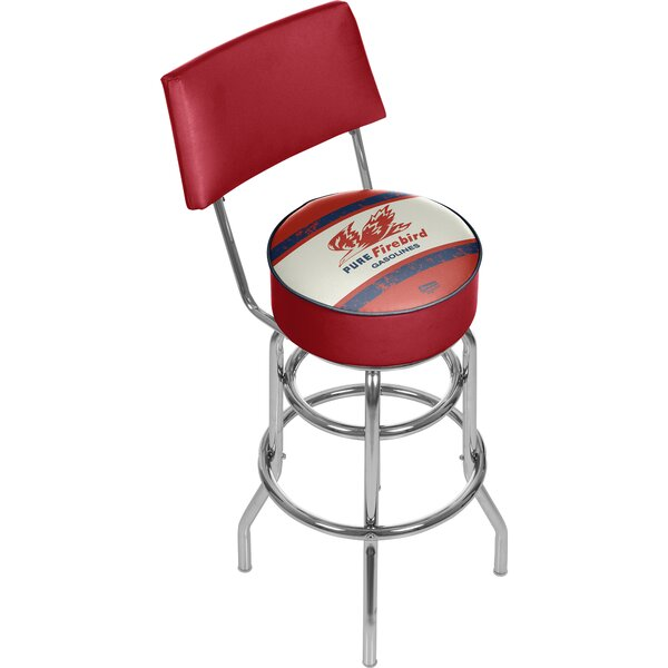 Pure Oil Vintage Swivel Bar Stool with Back by Trademark Global
