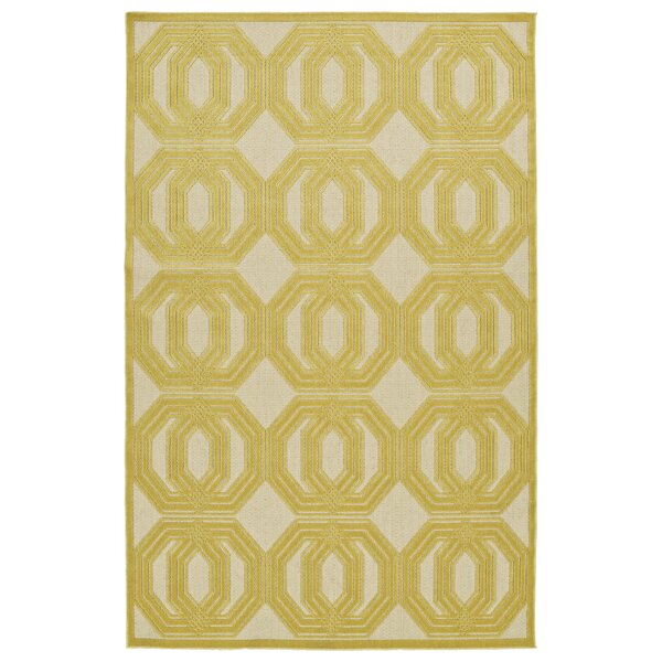 Covedale Gold & Cream Indoor/Outdoor Area Rug by Charlton Home