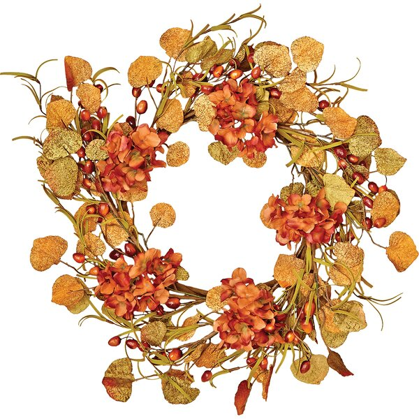 22 Fall Berry and Hydrangea Wreath by Worth Imports