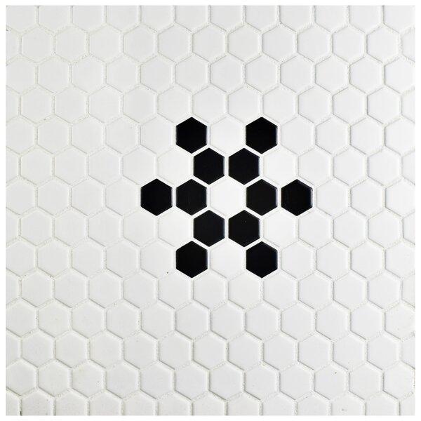 Retro  10 x 12 Porcelain Mosaic Tile in Matte Black/ Bright White by EliteTile
