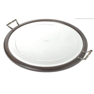Round Wood and Glass Mirrored Serving Tray