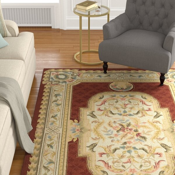 Alladin Hand-Hooked Ivory/Red Area Rug by Astoria Grand