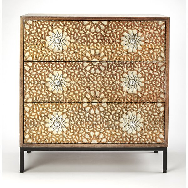 Genoveva Carved 3 Drawer Dresser by World Menagerie