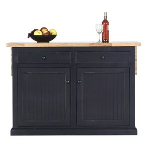 Meredith Kitchen Island with Butcher Block Top by Breakwater Bay Best Price