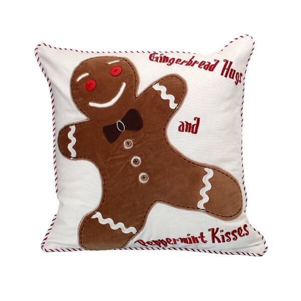 Poar Gingerbread Hugs and Kisses Throw Pillow by The Holiday Aisle