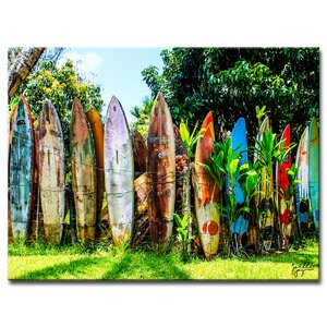'Surfboard Fence' Photographic Print on Canvas by Ebern Designs