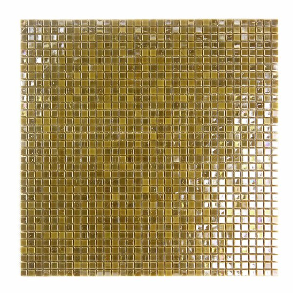 Galaxy Straight 0.31 x 0.31 Glass Mosaic Tile in Glazed Brushed gold by Abolos