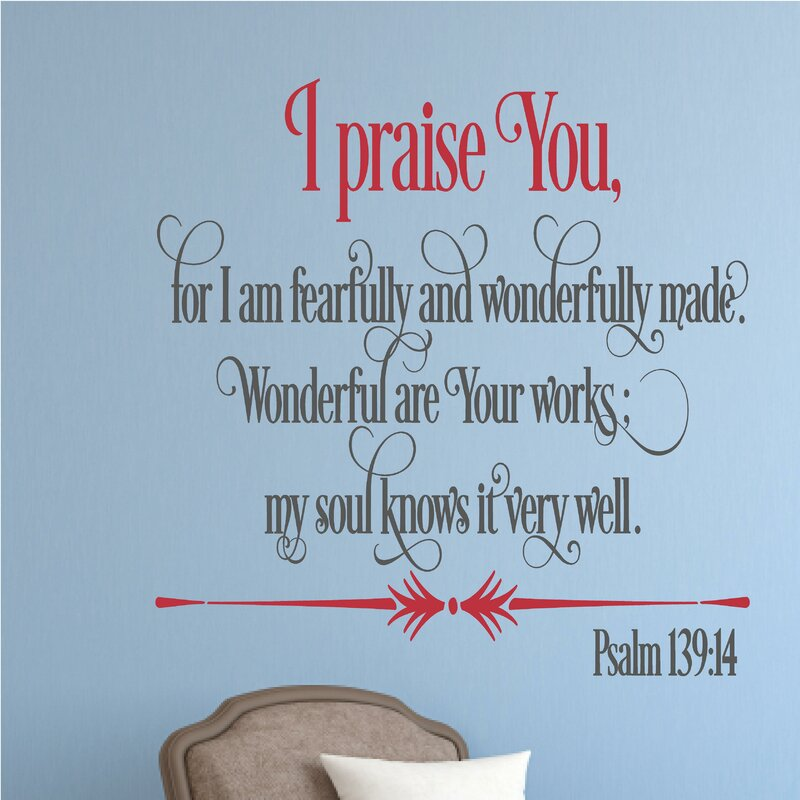 Merveilleux I Praise You Religious Bible Verse Wall Decal