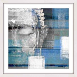 'Blue Buddha' by Parvez Taj Framed Painting Print by Parvez Taj