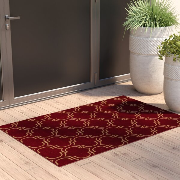 Somerford Rubberback Red Indoor/Outdoor Area Rug by House of Hampton