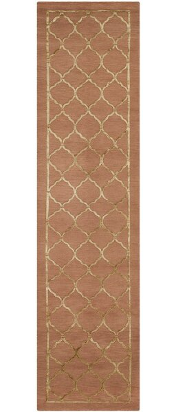 Jerlene Hand-Knotted Rust Area Rug by House of Hampton