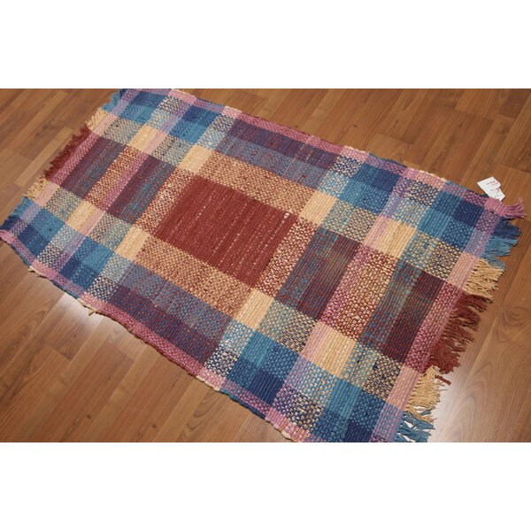 One-of-a-Kind Swindlehurst Dhurry Reversible Hand-Woven Red/Blue Area Rug by August Grove
