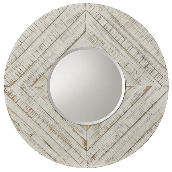 Pippa Natural Wood Round Wall Mirror by Highland Dunes