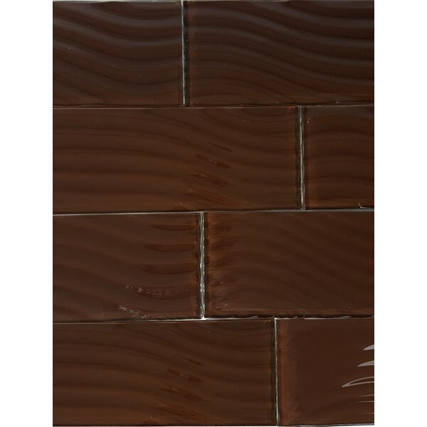 Pacific 4 x 11.75 Glass Wood Look/Field Tile in Cola by Abolos