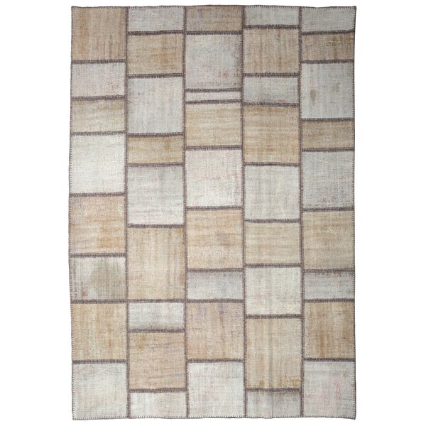 One-of-a-Kind Corrie Overdyed Patchwork Hand-Knotted Wool Beige/Ivory Area Rug by Isabelline