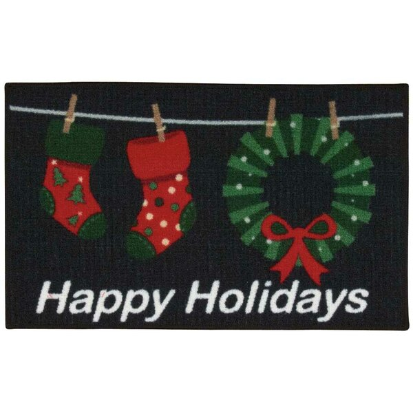 Doyers Black/Red Area Rug by The Holiday Aisle