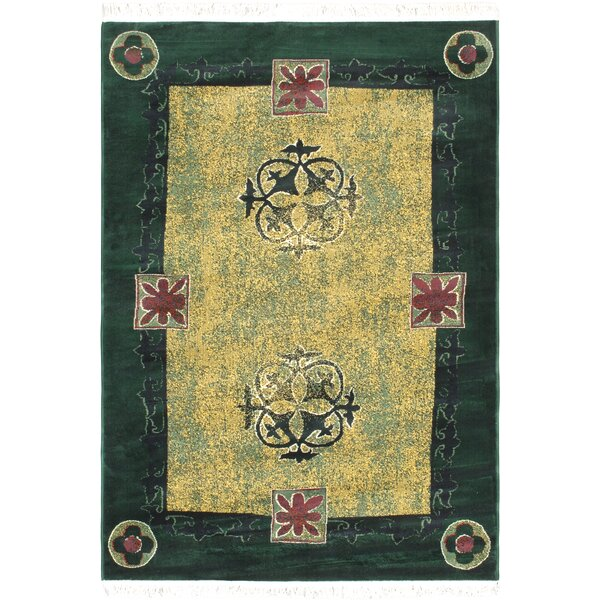 Domenica Green/Light Gold Area Rug by World Menagerie