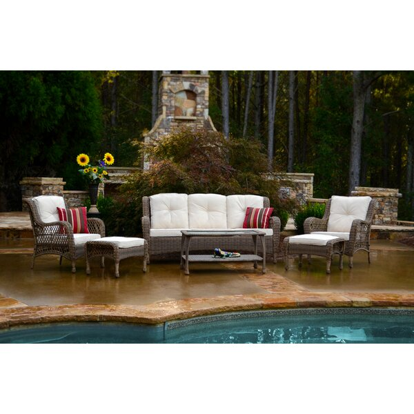 Brunilda 6 Piece Rattan Sofa Seating Group with Cushions by August Grove