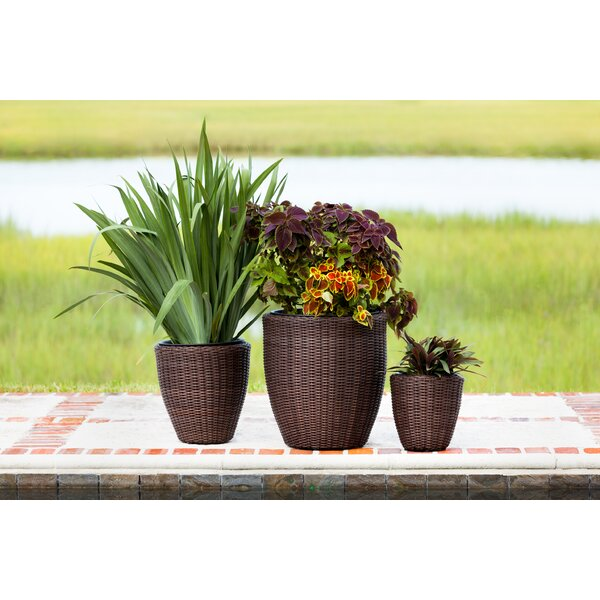 Tondo 3-Piece Wicker Pot Planter Set by PatioSense