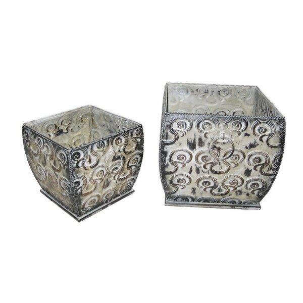 Galaviz Designer 2-Piece Metal Pot Planter Set by Bungalow Rose