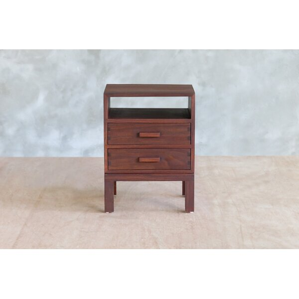 Nicarao Rosita Walnut 2 Drawer Nightstand by Masaya & Co