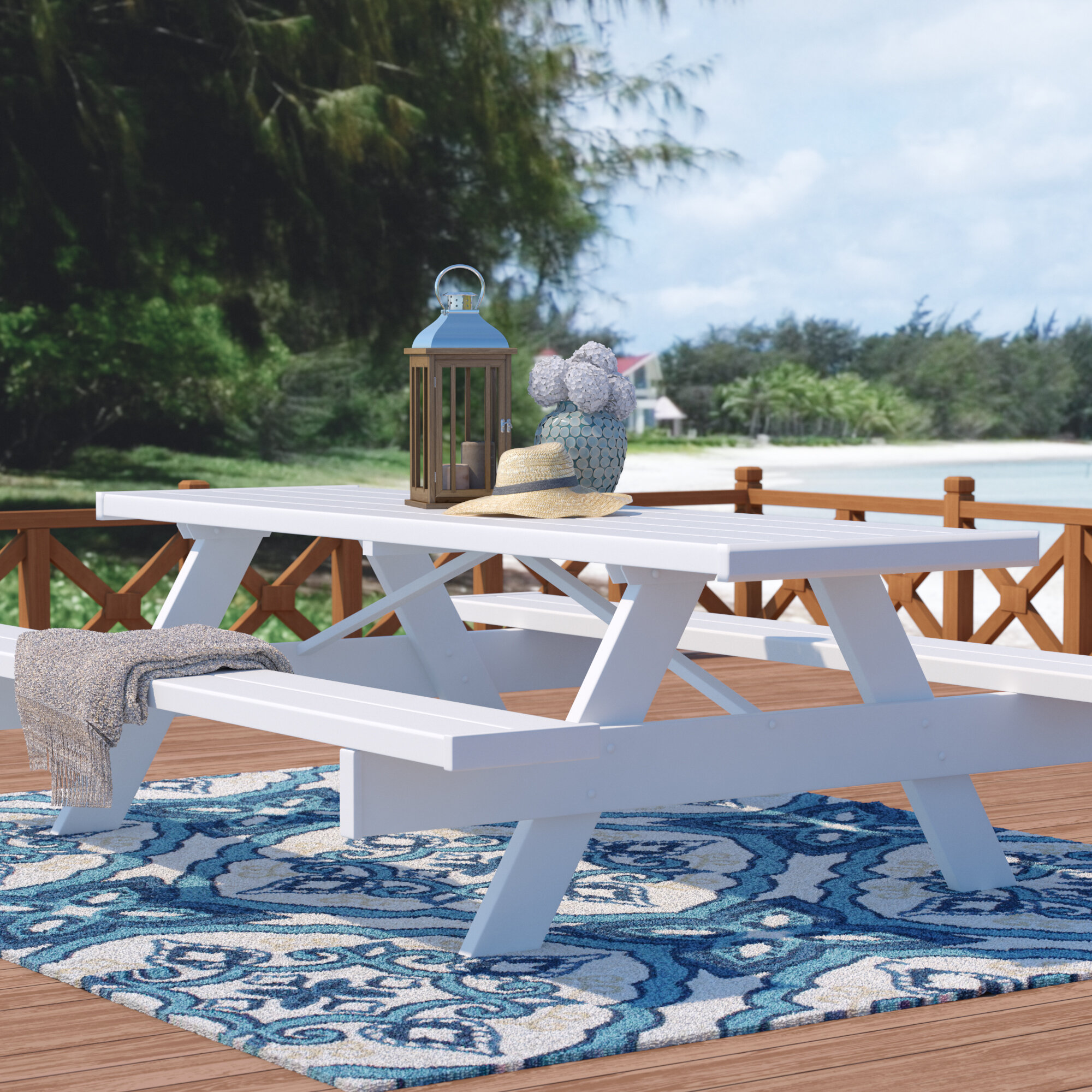 Beachcrest Home Windermere Picnic Table Reviews Wayfair - Picnic table bracket kit