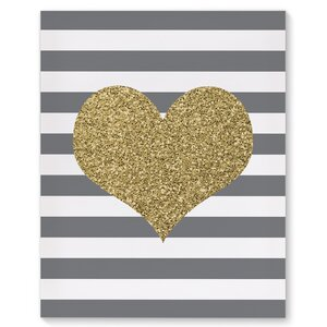 'Foil Heart' Graphic Art on Wrapped Canvas by KAVKA DESIGNS