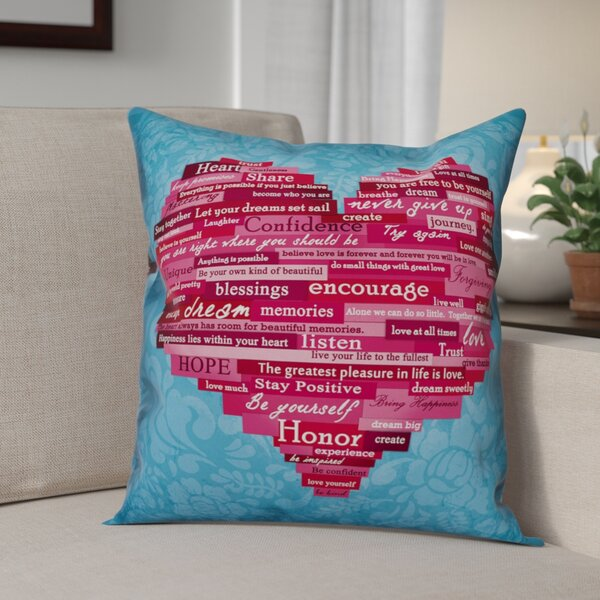 Fitzmaurice Word Heart Throw Pillow by Winston Porter