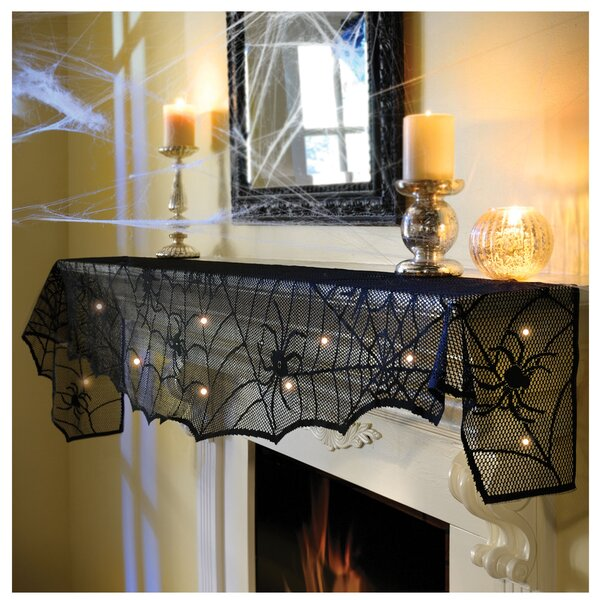 Halloween Midnight Lace Mesh Mantle Scarf By Amscan.