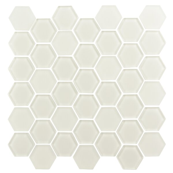 Pure Hexagon 2 x 2 Glass Mosaic Tile in Warm White by Madrid Ceramics