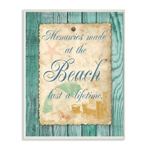 'Memories Are Made At The Beach Note' Framed Textual Art On Wood by Beachcrest Home