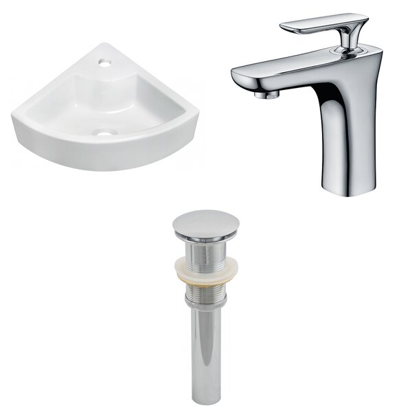 Ceramic 19 Wall Mount Bathroom Sink with Faucet by American Imaginations