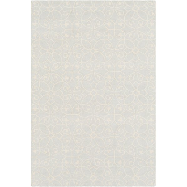 Arison Medallions and Damask Hand Hooked Wool Cream Area Rug by Charlton Home