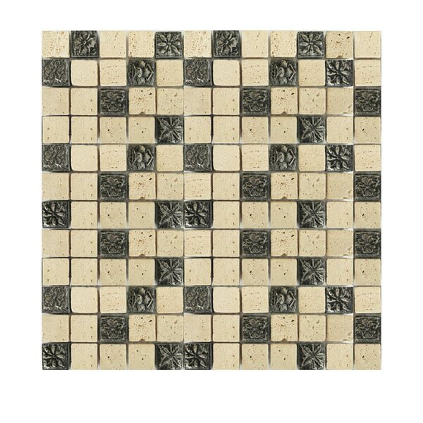 Glass Mosaic Tile in Beige/Black by QDI Surfaces